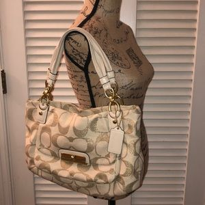Coach canvas and gold tote